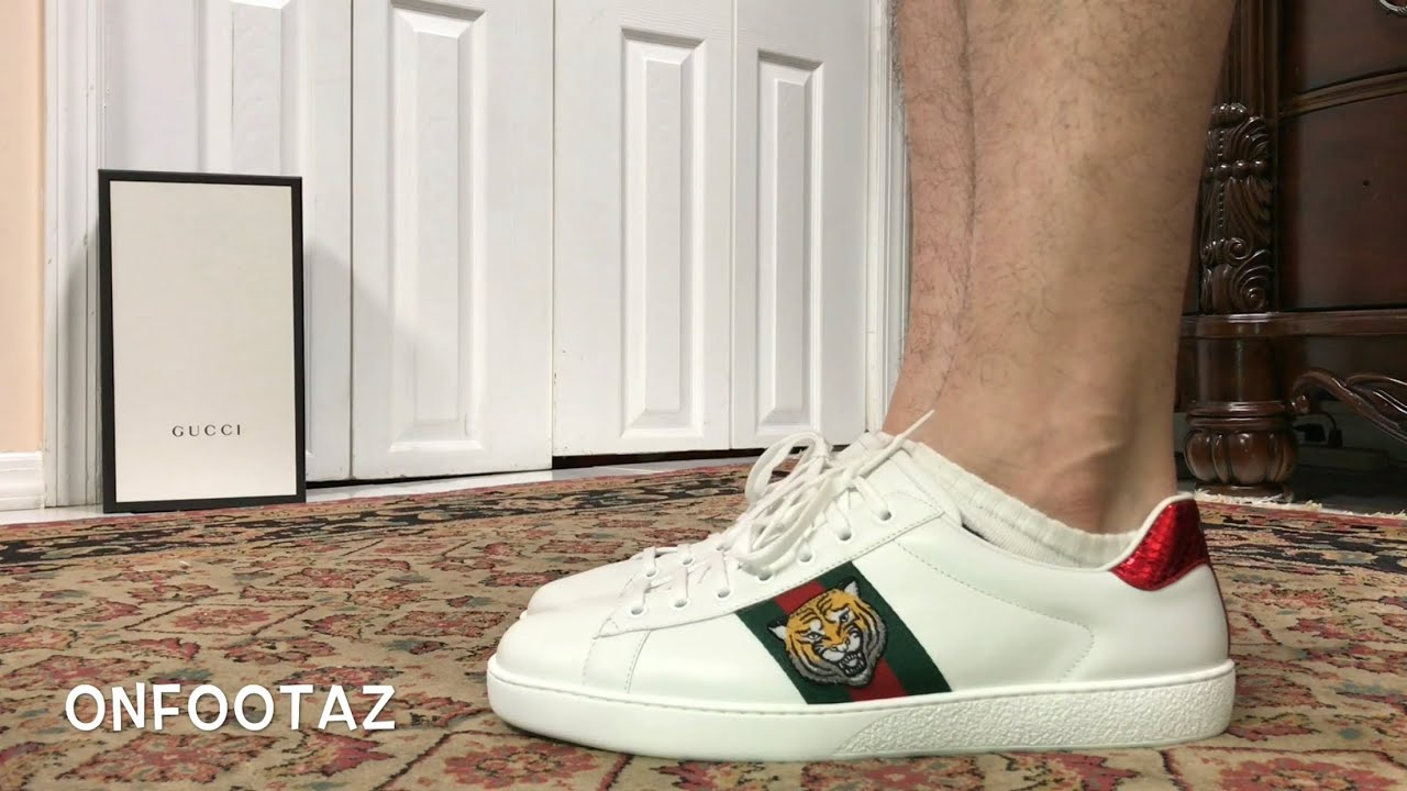 09a29fc50e97 Gucci Ace Embroidered Tiger On Foot - YouTube
