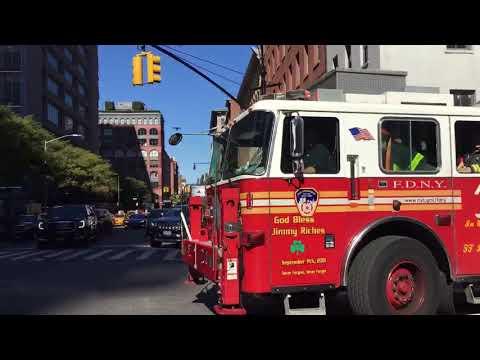 FDNY ENGINE 7 & FDNY TOWER LADDER 1 RESPONDING ON N. MOORE STREET IN TRIBECA, MANHATTAN, NEW YORK.
