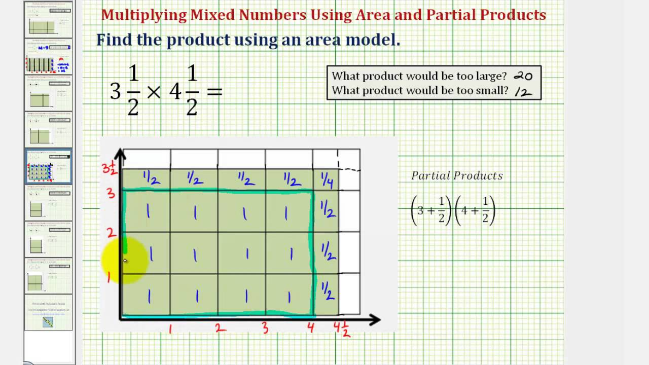 Ex: Find A Product Of Two Mixed Numbers Using Area