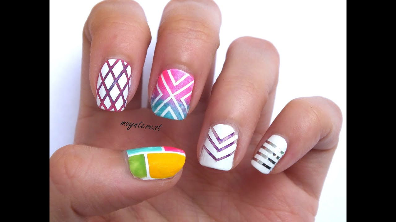 5 DISEÑOS de UÑAS con CINTA ADHESIVA - YouTube - photo#46