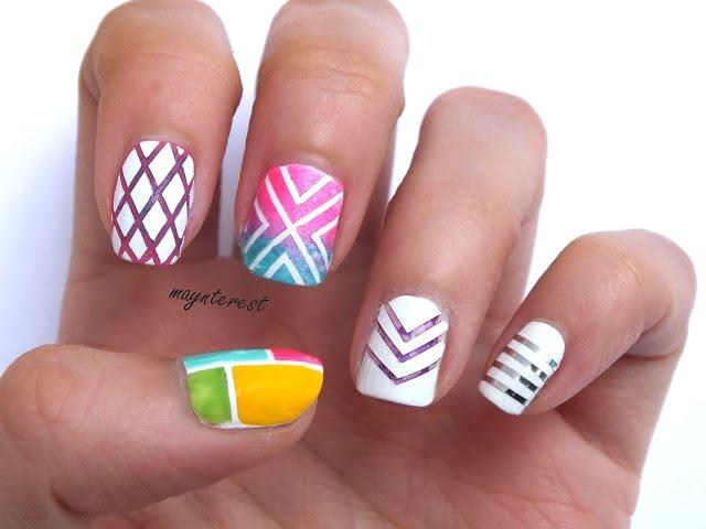 Decoración De Uñas Con Lineas Y Rayas 50 Combinaciones Y Colores