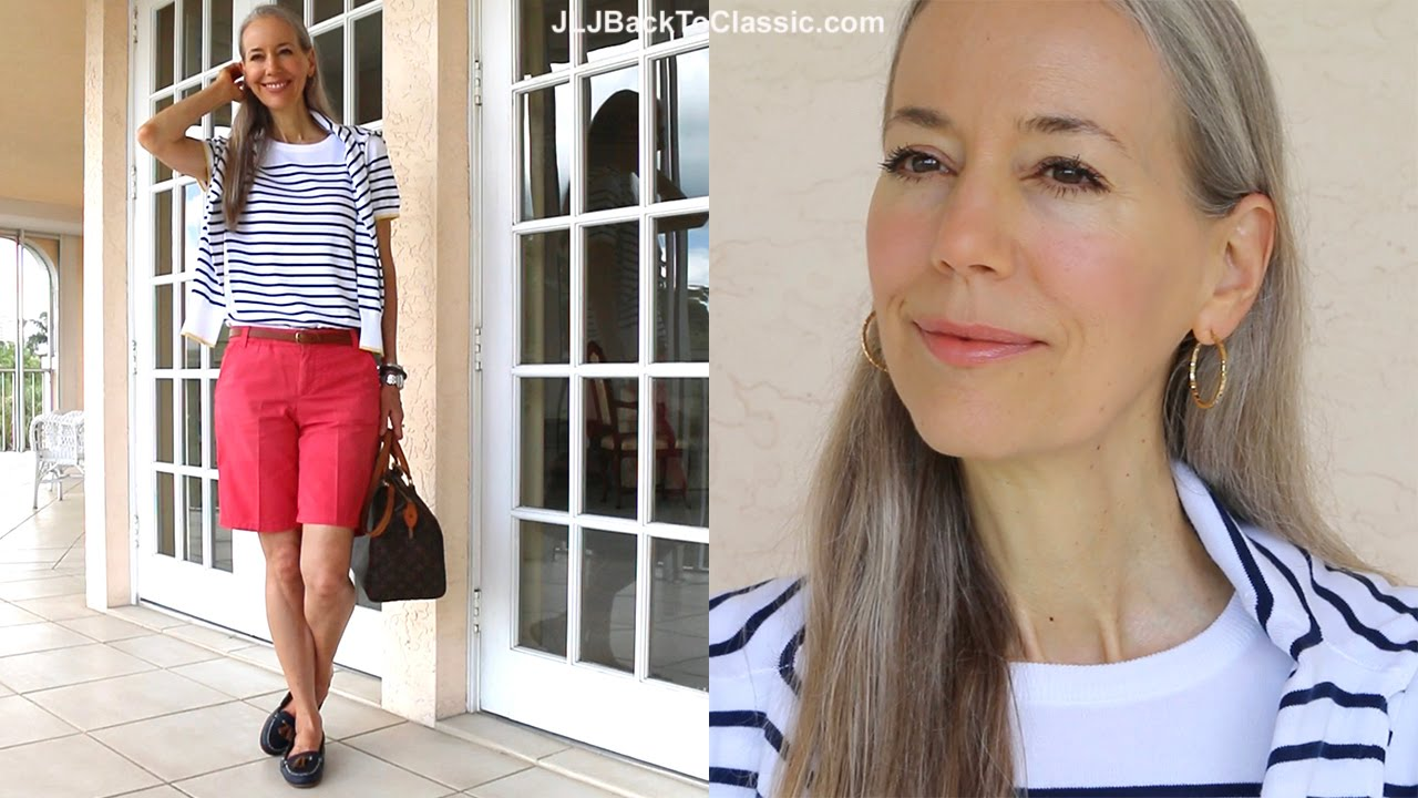 Classic Fashion Style Over 40 50 Preppy Stripe Sweater Coral Shorts Vintage Louis Vuitton