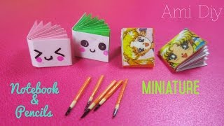 Back to school,DIY Miniature Cute Notebook & Pencils  Cách làm quyển vở và bút chì thu nhỏ dễ thương