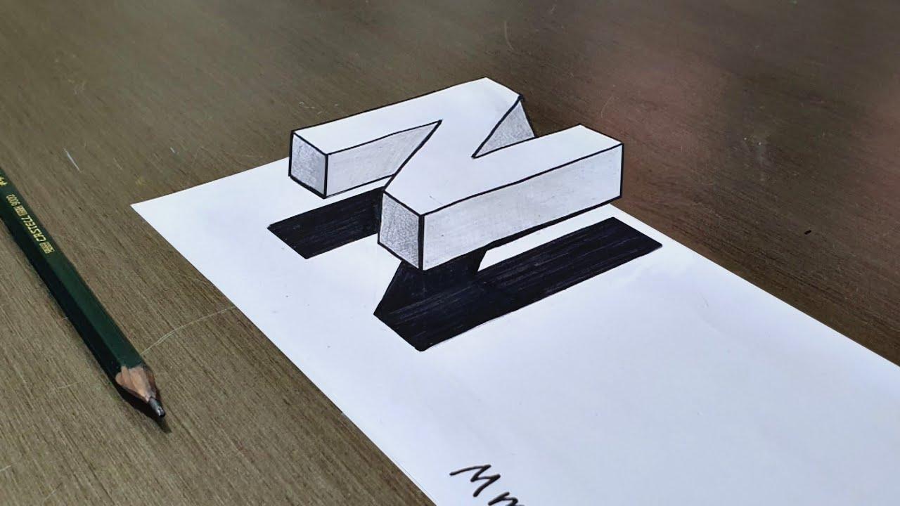 تعليم رسم حرف N ثلاثي الابعاد 3d Art Youtube