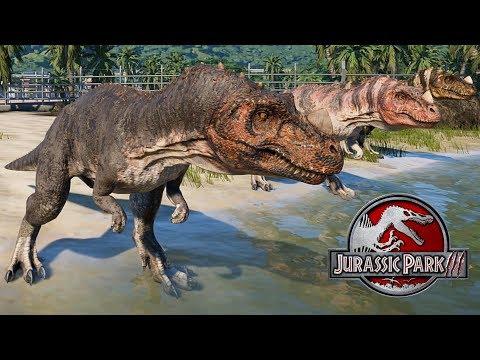 3 Ceratosaurus & 2 Spinosaurus Breakout & Fight! Jurassic World Evolution (4K 60FPS) |