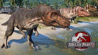 3 Ceratosaurus & 2 Spinosaurus Breakout & Fight! Jurassic World Evolution (4K 60FPS)
