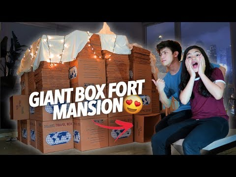 GIANT BOX FORT MANSION!! | Ranz and Niana