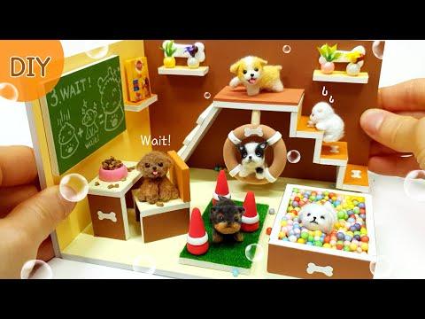 DIY Miniature Animal Dollhouse - 4 Puppy & Training School !