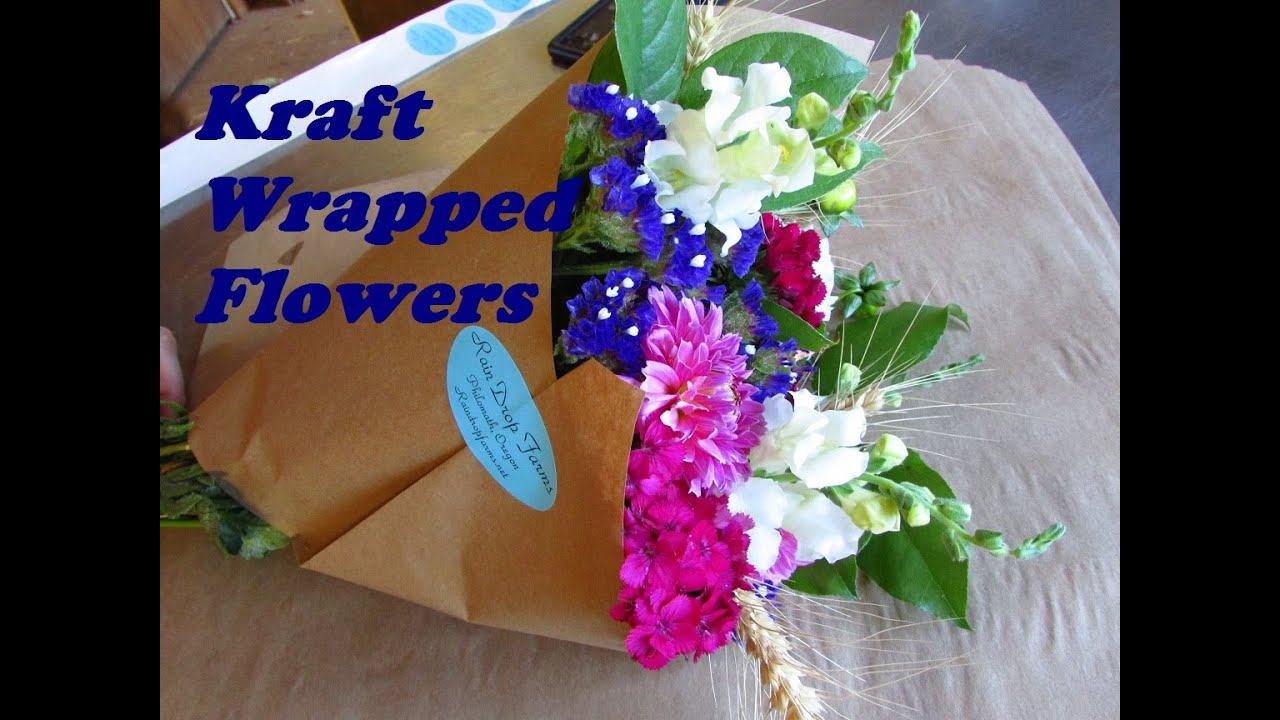 Using Kraft Paper to Wrap Bouquets of Flowers - YouTube