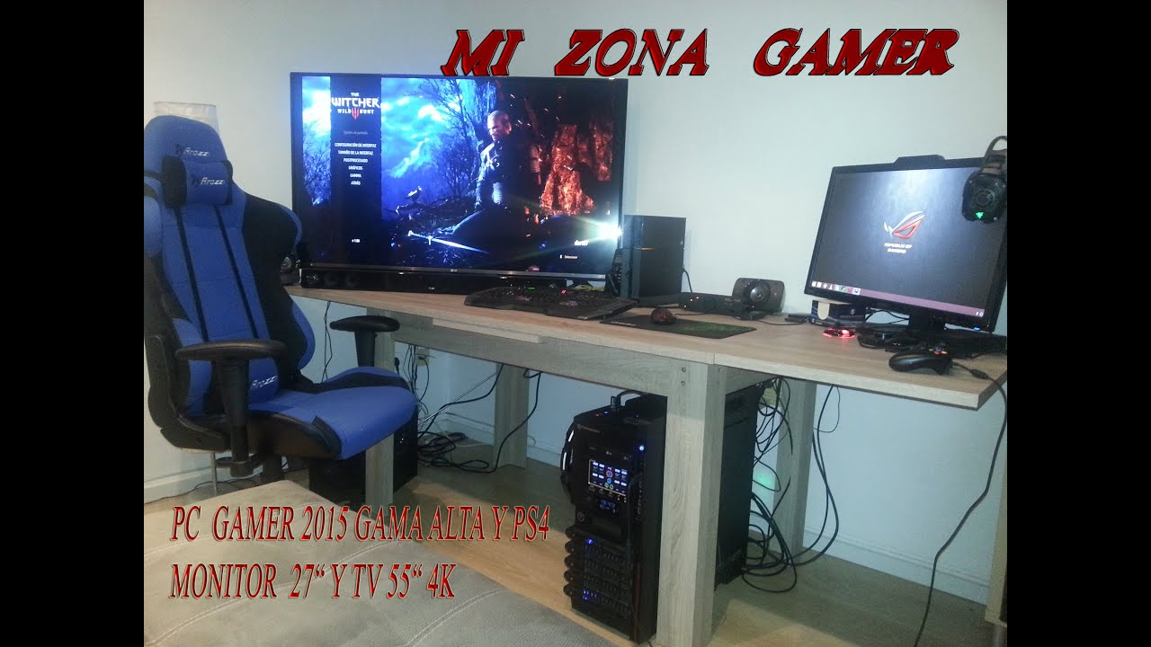 Setup de mi zona gamer con pc gama alta y ps4 mas monitor - Habitacion gaming ...