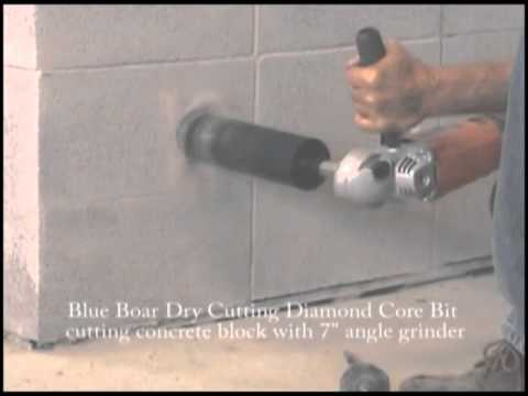 "Blue Boar dry cutting Diamond Core Bit cutting cinder block with 7"" angle grinder"