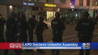 Downtown LA Protests Turn Violent As Demonstrators, Police Clash; Looting Reported