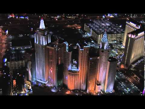 New York New York Hotel Casino Las Vegas Aerial Views at Night from Helicopter Video Tour Footage