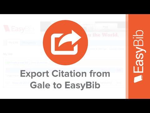 Export Citations From Gale Into Easybib Easybibcom Youtube