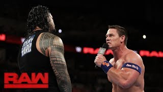 Roman Reigns challenges John Cena to a fight, live on Raw: Raw, Sept. 4, 2017