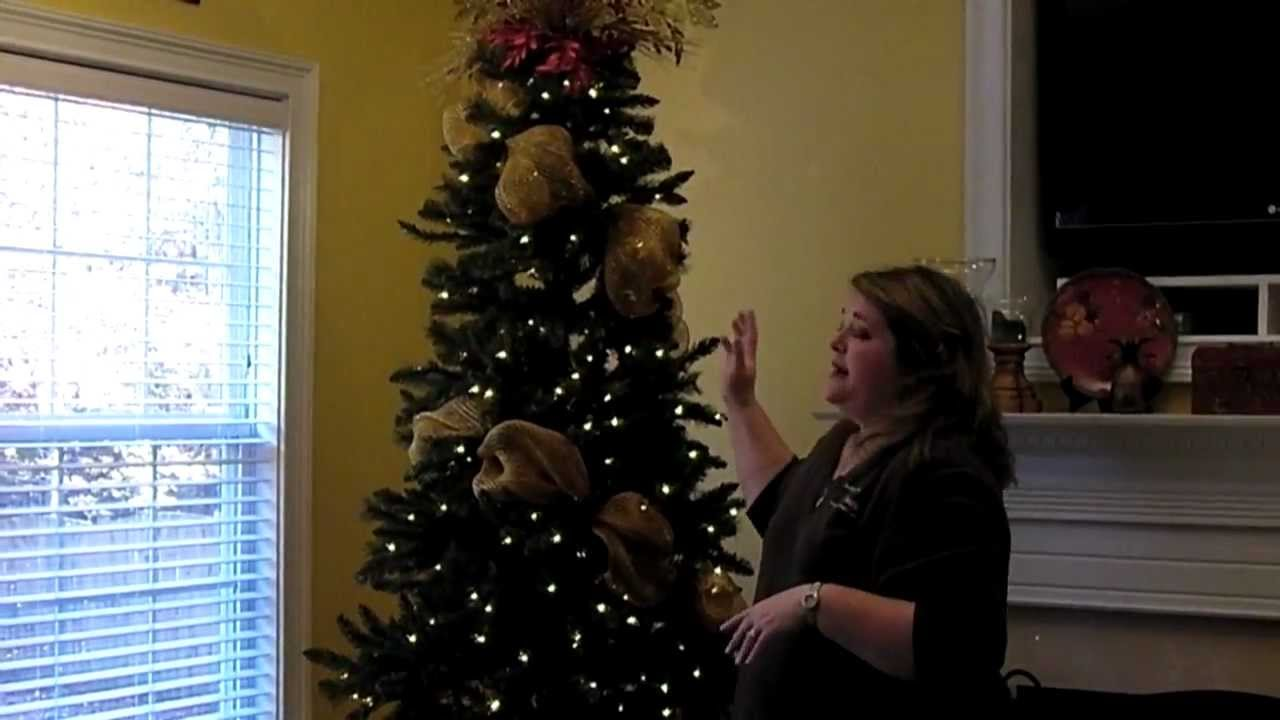 add deco mesh to christmas tree part 1 - How To Decorate A Christmas Tree Youtube
