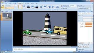 Tutorial powerpoint 2007 |Cara membuat custom animations clipart car dan Bus di powerpoint