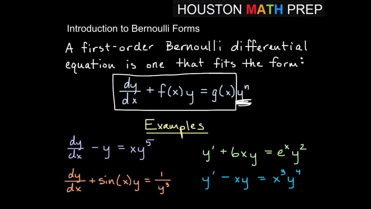 Bernoulli First Order Equations - Intro - YouTube