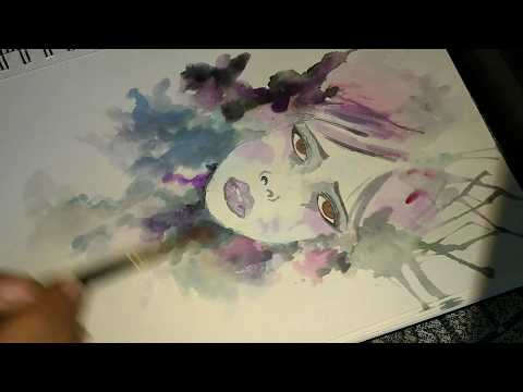 CREATIVE art drawing || multiple colour exposure painting with face ||easy ideas || water colouring