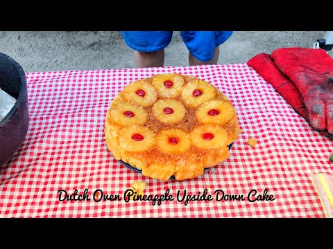 Making Pineapple Upside Down Cake Dutch Oven Style