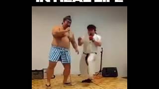 Street Fighter SFX Real Life Sound Battle   Funny Video Ryu vs E Honda  (ЮМОР)