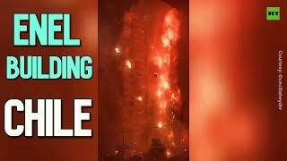 ENEL building is on fire amid protests in Santiago, Chile on Saturday