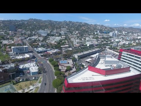 Flying over West Hollywood and Pacific Design Center