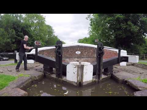 Narrowboat the Trent & Mersey Canal through Fradley Locks - 18