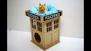 DIY Дом для кота Полицейская будка для кота из картона