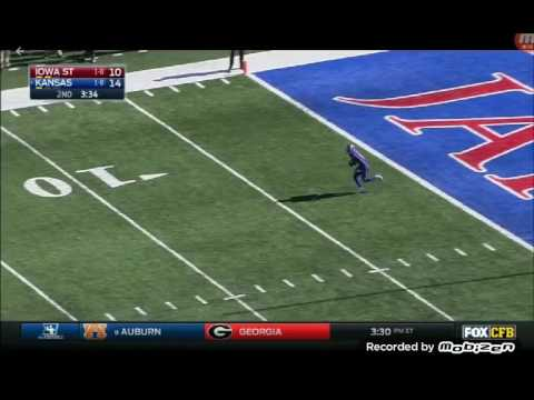 Kansas Player Camouflaged In The End Zone For Trick Play