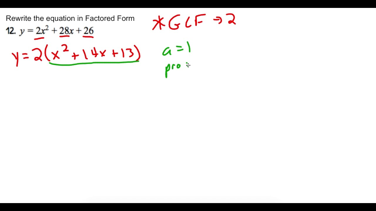 Rewrite standard form into factored form a 1 youtube rewrite standard form into factored form a 1 falaconquin