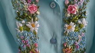 Небесно нежное платье с вышивкой лентами