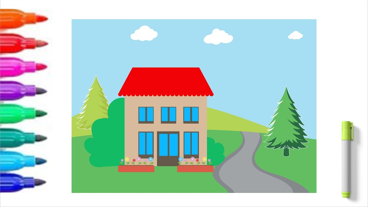 Villa house coloring pages drawing coloring for kids coloring pages for children babies toddle