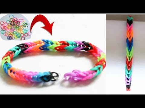 DIY Bracelet/Making Friendship band/Loom Bracelet/Rainbow bracelet/Easy Rubber craft for kids