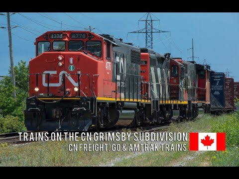 4K - CN Freight, GO, and Amtrak Trains on the Grimsby Sub in the Summer of 2017