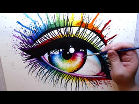 Rainbow Eye Mixed Media Speed Paint Youtube