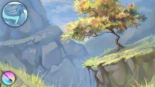 Landscape with a tree. Speed art in Krita.