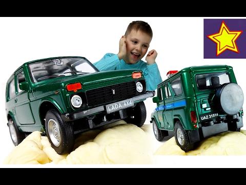 Машинки Welly Зеленая Нива 4х4 Ездим по тесту Kids welly toys unboxing