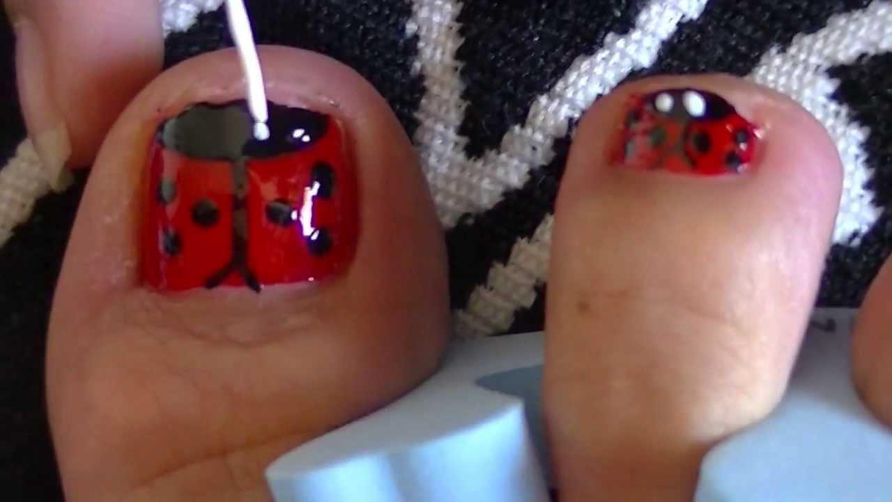 diseño de uñas para pies (mariquitas) - YouTube