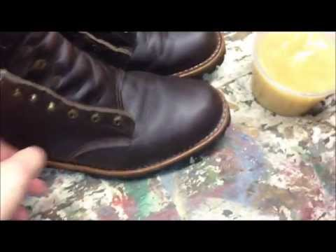 Taking Care Of Leather Boots (Using Montana Pitch Blend On My Chippewas)