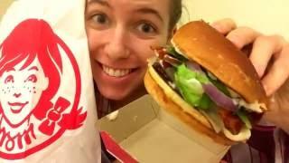 wendy s bacon mozzarella hamburger mukbang eating show