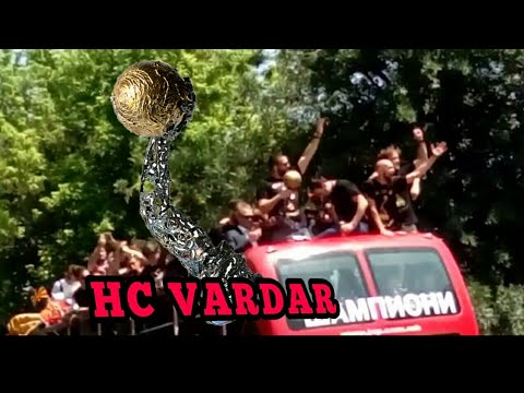 Europe handball champion -VARDAR present the medal across Skopje