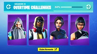 The NEW Fortnite OVERTIME CHALLENGES FREE REWARDS! (Fortnite Season 9 Overtime Challenges Rewards)
