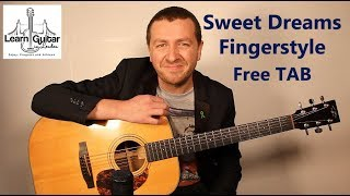 Sweet Dreams (Are Made Of This) - Fingerstyle Guitar Tutorial - Eurythmics - Free TAB - Drue James
