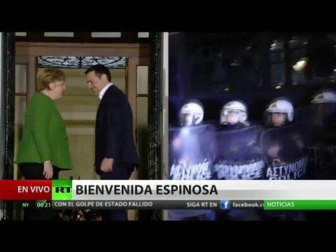 Protestas masivas en Atenas por la visita de Angela Merkel