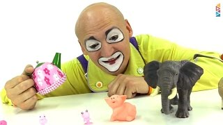 Funny Video for children. Clowns for kids. Making toy animals grow.