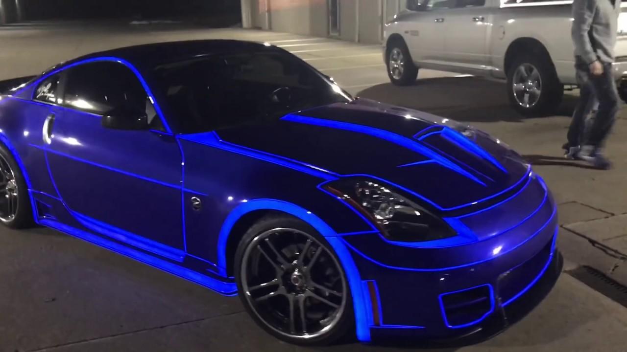 Real Life Tron Car Nissan 350z Lit Up With Lumilor