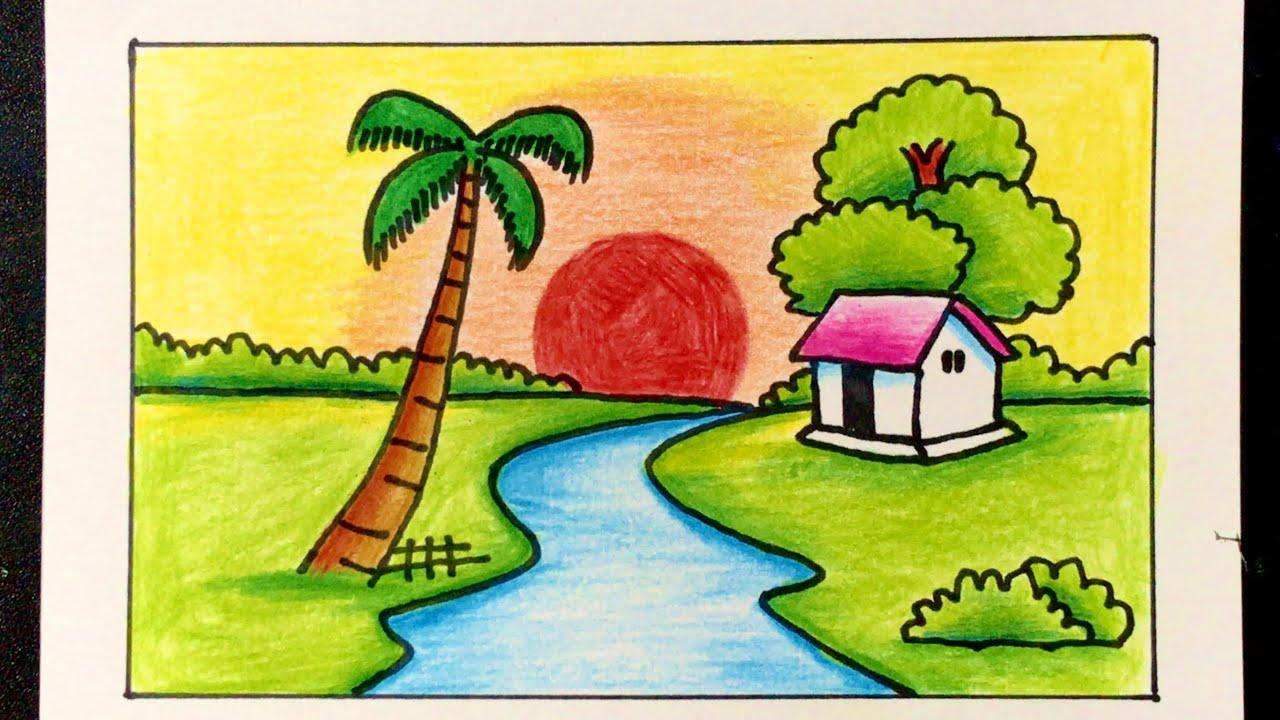 Vẽ Tranh Đề Tài Phong Cảnh Bình Minh ĐƠN GIẢN MÀ ĐẸP   how to draw sunrise scenery
