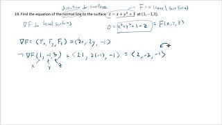 Finding the equation oḟ the normal line to a surface