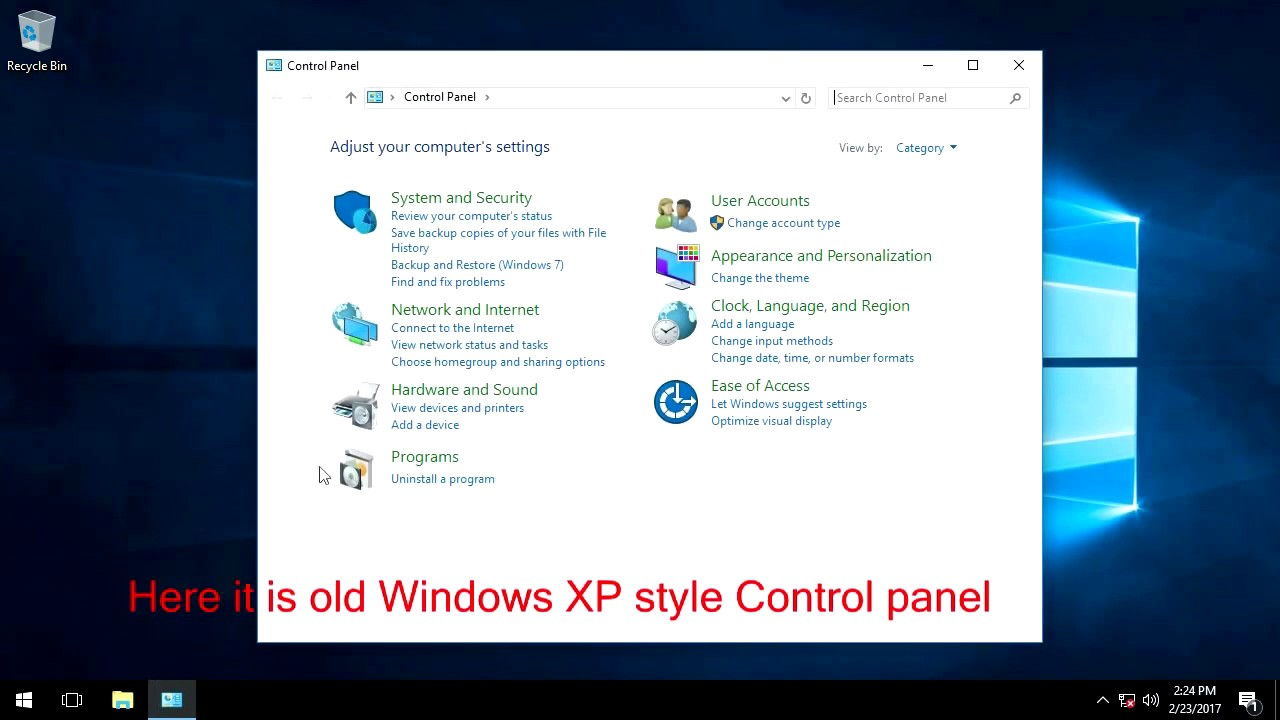 Old style Control panel in Windows 10 - YouTube